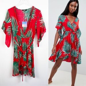ASOS | NWT Missguided Tall Tropical Wrap Dress